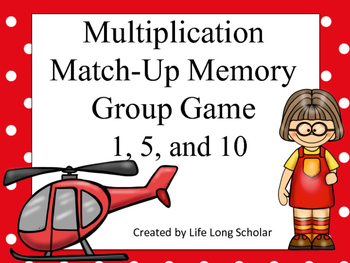 Multiplication Match-Up Memory Game 1, 5, and 10's facts