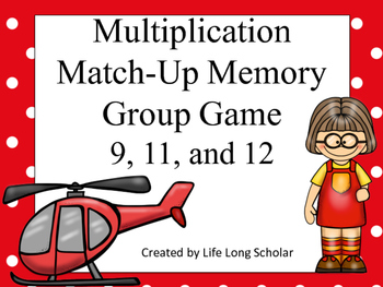 Multiplication Match-Up Memory Game 9, 11, and 12's facts