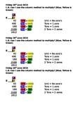 multiplication TU x TU help sheet