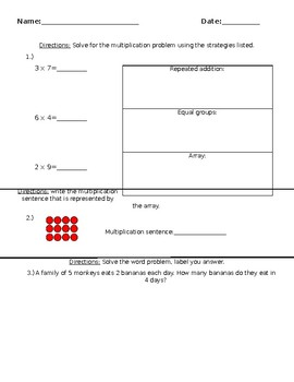 multiplication equal groups and arrays quiz