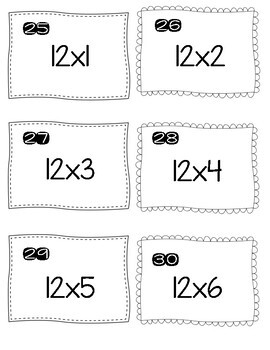 multiplication facts 10, 11 and 12