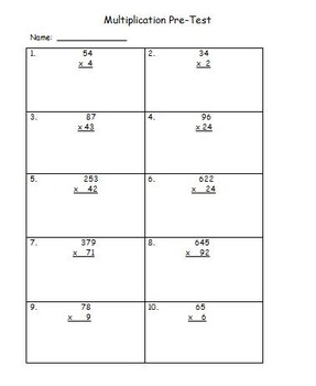 multiplication pretest and postest
