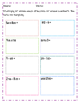 multiplying & Dividing Fractions review