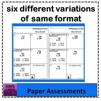 multiplying decimals exit slips