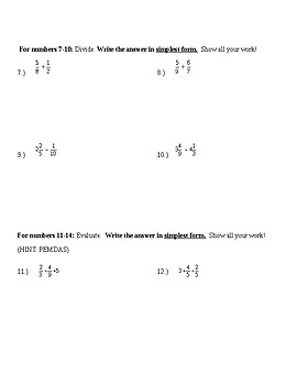 multiplying/dividing/expressions/word problems test