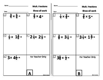 multiplying fractions exit slips