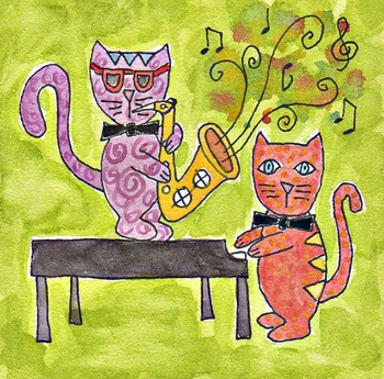 music clip art, saxophone clip art, piano clip art, cats playing instruments