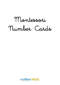 myBlee Math's Montessori Number Cards - Suitable for all grades