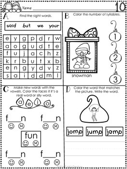 Kindergarten December Word Work Journal