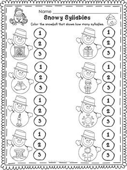 Kindergarten December Printables - ELA and Math