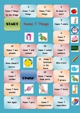 English vocabulary board game (name 7 things)
