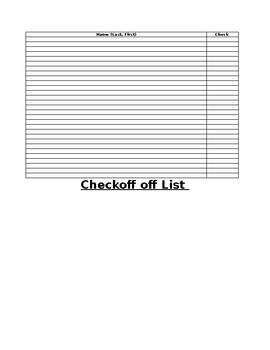 name checkoff sheet