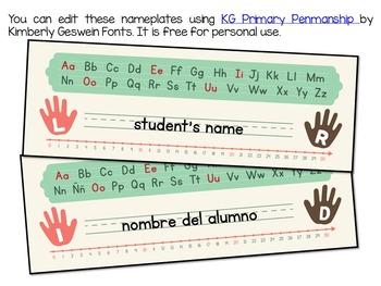 nameplates English and Spanish