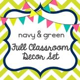 navy blue & green classroom decor set