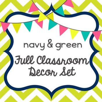 navy blue & green classroom decor set