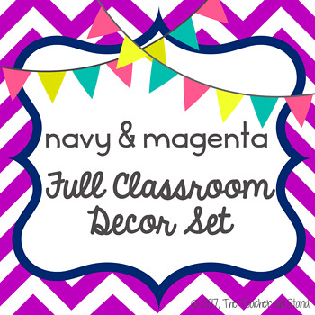 navy & magenta classroom classroom decor set