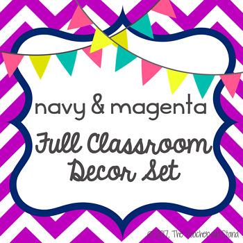 navy & magenta classroom classroom decor set