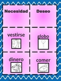 Financial Literacy game in Spanish (needs and wants)