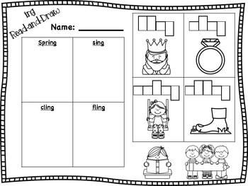 ng Word Family Read-and-Draw {ang, ing, ong, ung}