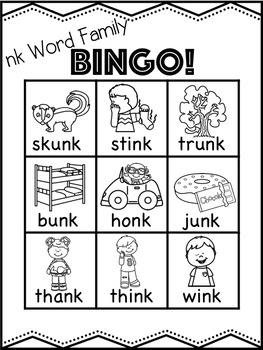 ng and nk Word Family Bingo Bundle! [10 playing cards per family group]
