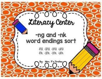 ng and nk word endings sort {Literacy Center Freebie!}