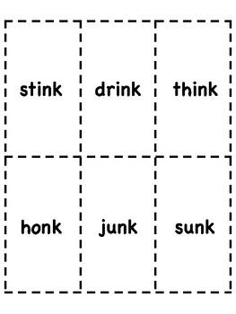 nk Word Family Bingo [10 playing cards]