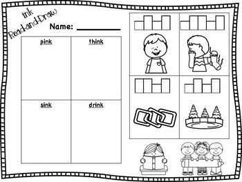 nk Word Family Read-and-Draw [ank, ink, unk]