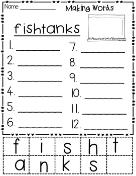 nk endings Hands-on Spelling and Phonics