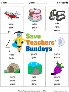a-e phonics lesson plans, worksheets and other teaching resources