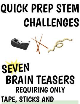 quick prep STEM Challenge - using sticks, tape + twine only!
