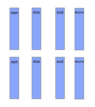non, mis, mid, micro prefix word sort center