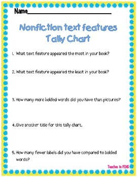 Tally Chart {Graphing} (Non-Fiction Text Features) #thirdgradetribe