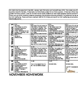 november reading homework calendar