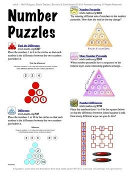 nrich Math Interactivities -- Bell Ringers, Brain Teasers, Review & Enrichment