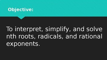 nth Roots, Radicals, and Rational Exponents PowerPoint
