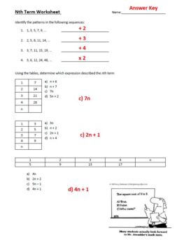 nth term Worksheet and Answer Key algebra variables tables patterns sequences