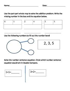 number bond, part part whole, double compare math test