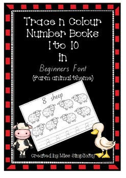 number book 1 to 10 COLOUR and TRACE in Beginners Font