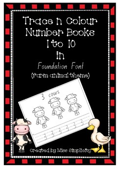 number book 1 to 10 COLOUR and TRACE in Foundation Font