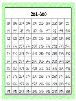 number chart 1-1,200