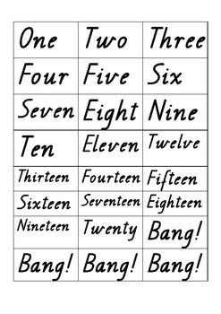 number word and symbol pop / bang! printable