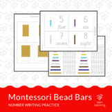 number writing practice with Montessori Bead Bars