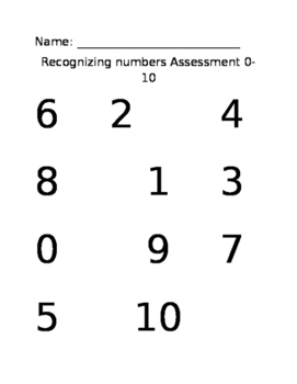 numbers 0 -10 number recognition assessment