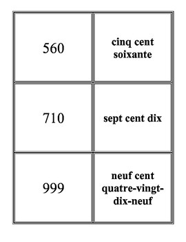 numbers 1-1000 French  for card games
