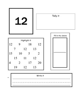 numbers 11-20 Math journal pages