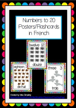 numbers to 20 POSTERS flashcards WORD WALL french