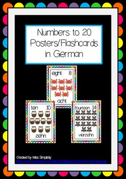 numbers to 20 POSTERS flashcards WORD WALL german