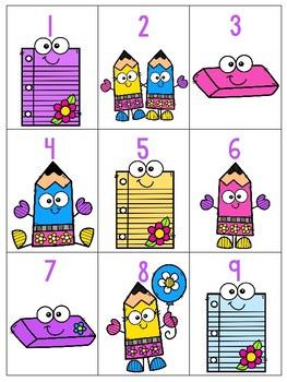 numeral cards 1 to 20: bundle 16_back to school theme
