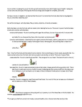 nutrition information sheet