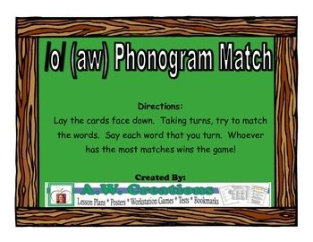 /o/ (aw) Phonogram Match Workstation Game or Small Group Activity